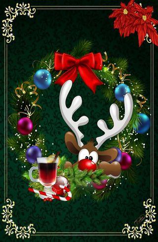 Обои на телефон олень, рождество, зеленые