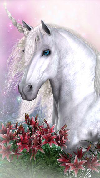 Обои на телефон единорог, цветы, лошадь, животные, stallion, mare, fantsy, cg