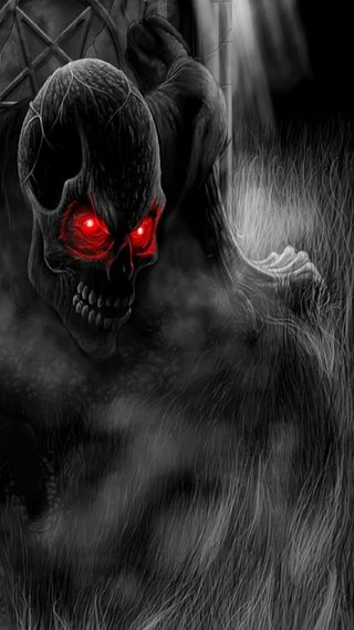 Обои на телефон черные, череп, демон