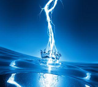 Обои на телефон гром, вода, water thunder, 2160x1920