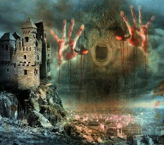 Обои на телефон кровь, ужасы, страшные, ночь, лицо, город, абстрактные