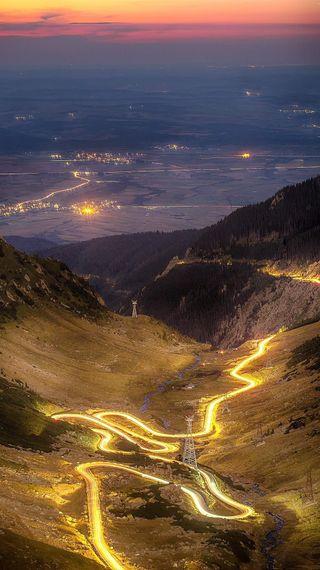 Обои на телефон румыния, огни, дорога, длинный, visit, transfagarasan, tourist, exposure