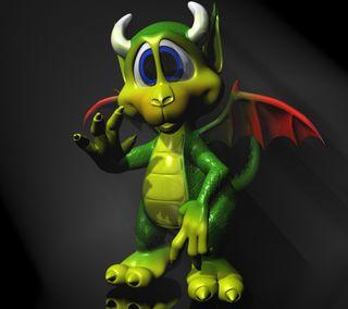Обои на телефон дрейк, темные, мультфильмы, милые, крылья, красые, зеленые, дракон, horns, dragon, cartoon dragon 3d, 3д