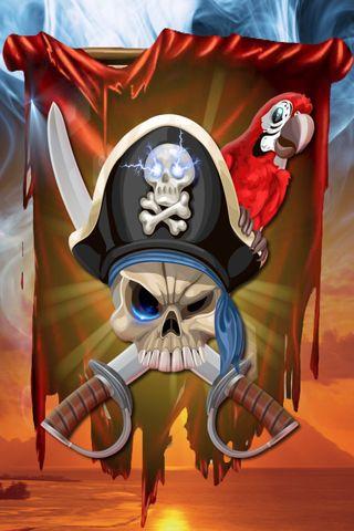 Обои на телефон попугай, череп, флаг, пираты, закат
