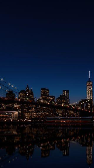 Обои на телефон отражение, ночь, новый, город