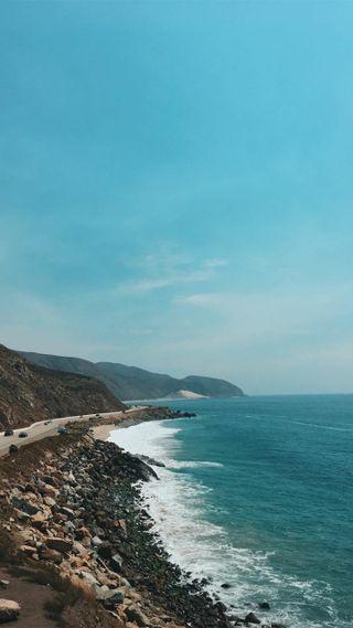 Обои на телефон синие, океан, море, камни, the dope sea, the dope, dope
