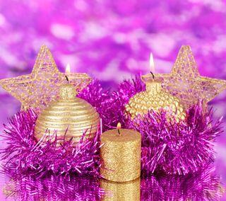 Обои на телефон свеча, фиолетовые, украшение, сияние, рождество, золотые, время, xmas time