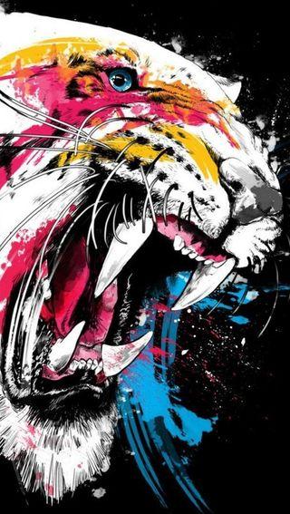Обои на телефон злые, цветные, тигр, арт, art