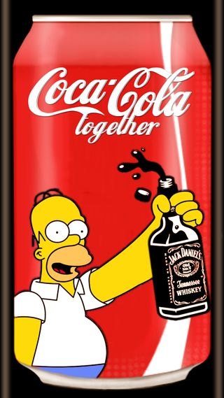 Обои на телефон кока, вместе, симпсоны, логотипы