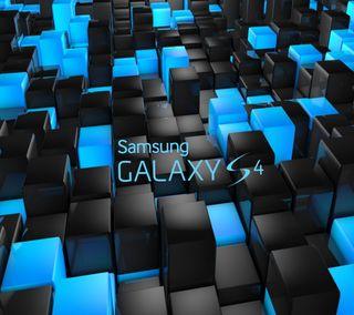 Обои на телефон galaxy, s4, samsung, черные, синие, логотипы, галактика, самсунг, кубы