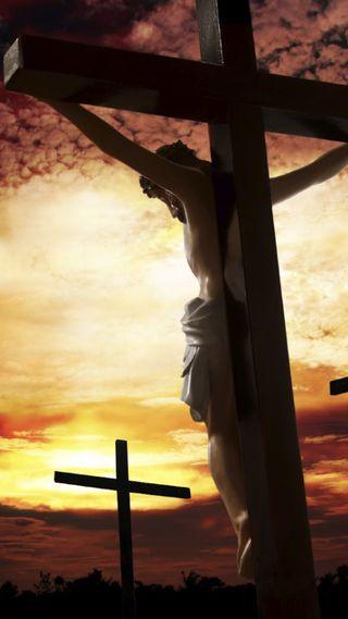 Обои на телефон верить, христианские, облака, крест, исус, закат, hd