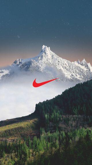 Обои на телефон просто, природа, пейзаж, оно, найк, логотипы, горы, бренды, nike mountain, nike, just do it, 4k, 2018
