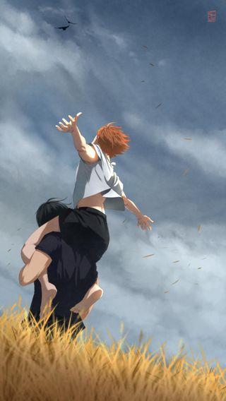 Обои на телефон хината, хайкю, свобода, пшеница, поле, облачно, аниме, volleyball, piggyback, kageyama