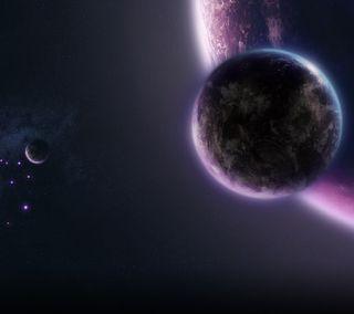 Обои на телефон планеты, фиолетовые, purple planets