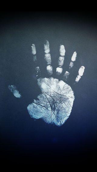 Обои на телефон рука, синие, handprint