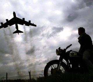 Обои на телефон силуэт, фото, самолет, небо, винтаж, байк, the depart, man, air