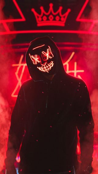Обои на телефон неоновые, ночь, маска, neon man night