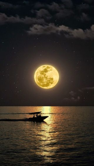 Обои на телефон сцена, поездка, корабли, природа, пейзаж, луна, лодки