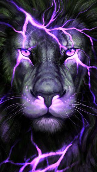 Обои на телефон гром, рисунки, лицо, лев, король, животные