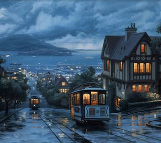 Обои на телефон море, синие, прекрасные, дом, дождь, streetcars