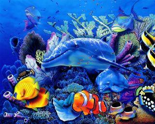 Обои на телефон животные, картина, подводные, дельфины, рыби