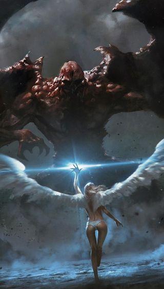 Обои на телефон против, зло, ангел, angel vs evil