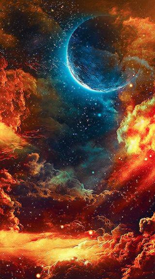 Обои на телефон планеты, синие, облака, небо, милые, луна, красые, космос, звезды, галактика, вселенная, galaxy, blue moon red sky