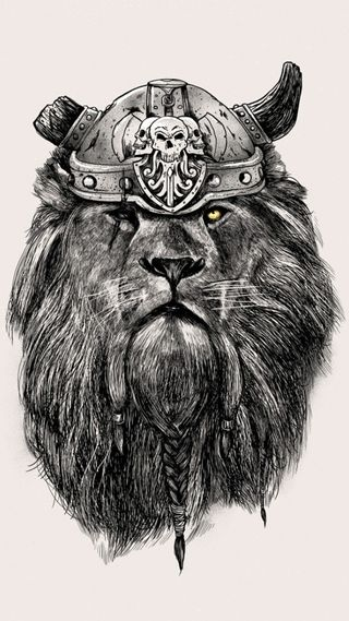 Обои на телефон викинги, череп, тату, лев, крутые, арт, lioness, art