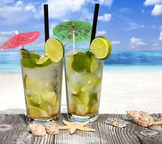 Обои на телефон ракушки, напиток, пляж, лайм, коктейль, mojito