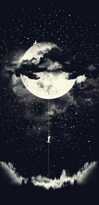 Обои на телефон энтерпрайз, корабли, луна, деревья, вселенная, trek, goblin