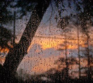 Обои на телефон макро, стекло, небо, капли, закат