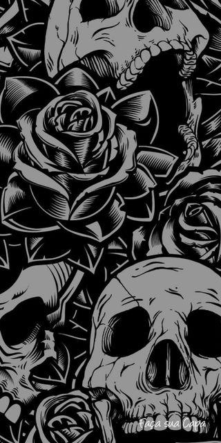 Обои на телефон тату, череп, розы, castaway