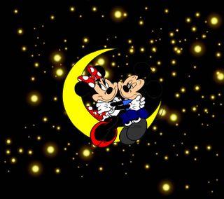 Обои на телефон маус, ночь, микки, любовь, звезды, дисней, love, disney, 1440x1280px