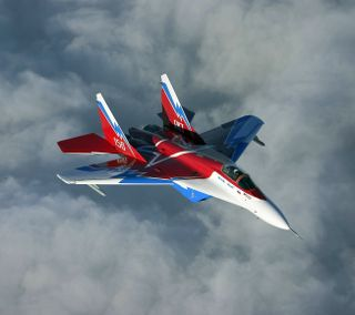 Обои на телефон реактивный, облака, небо, военные, боец, mig-29 fighter jet