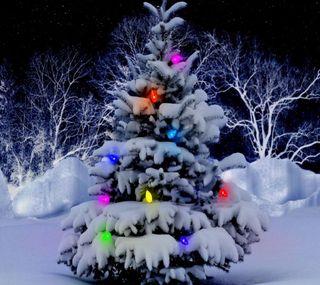 Обои на телефон дерево, рождество, огни, зима