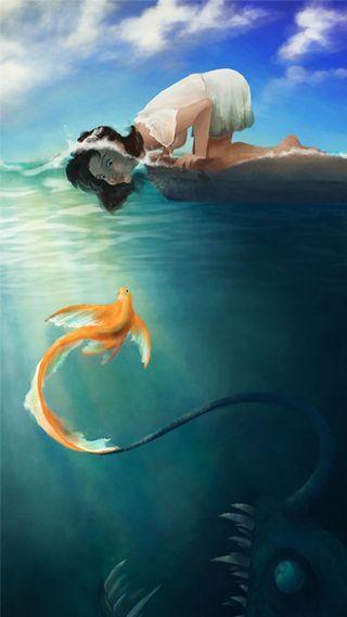 Обои на телефон трэп, рыба, monster
