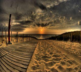 Обои на телефон природа, пейзаж, закат, пляж, солнце, песок