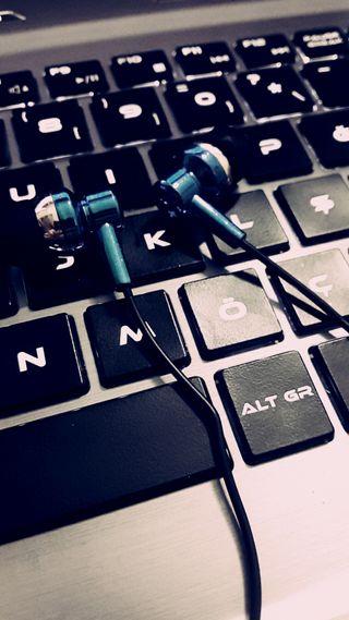 Обои на телефон наушники, синие, музыка, любовь, клавиатура, love