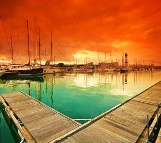 Обои на телефон испания, природа, лодка, закат, барселона, harbour