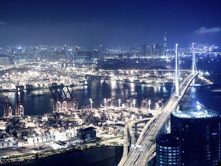 Обои на телефон свет, океан, мост, море, город, высокий, up