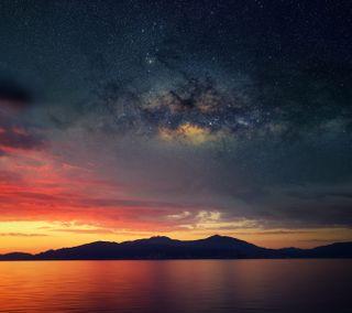 Обои на телефон остров, космос, закат, island sunset