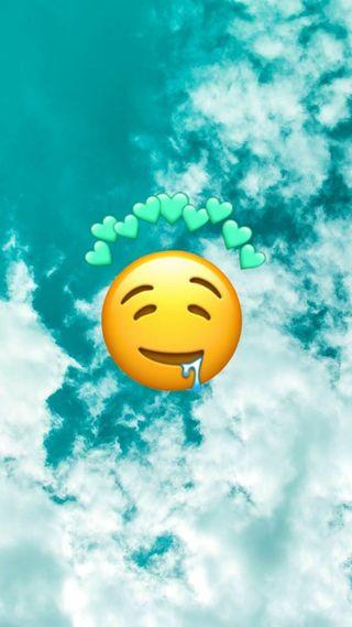 Обои на телефон эмоджи, синие, сердце, небо, drooling