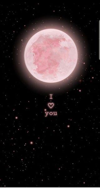 Обои на телефон эстетические, ты, розовые, любовь, луна, космос, высказывания, i love you