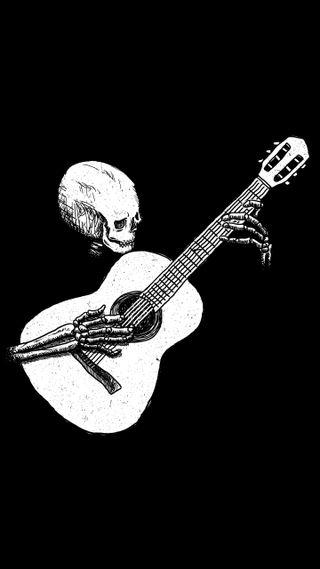 Обои на телефон гитара, черные, череп, музыка, белые, musical skull, black n white