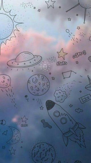 Обои на телефон пришельцы, планеты, облака, нло, небо, космос, tumblr, astrodoodles