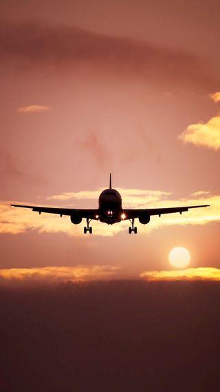 Обои на телефон сумерки, самолет, закат, вечер, takeoff, late
