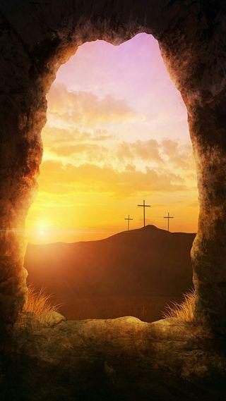 Обои на телефон христос, пещера, крест, солнце, облака, исус, вид