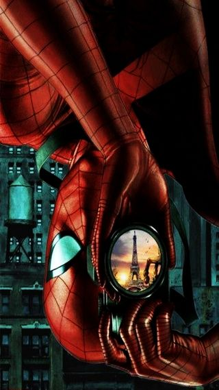 Обои на телефон паук, париж, марвел, камера, spider man, marvel