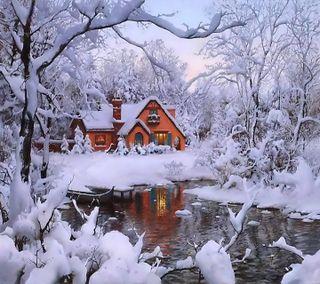 Обои на телефон дом, снег, зима