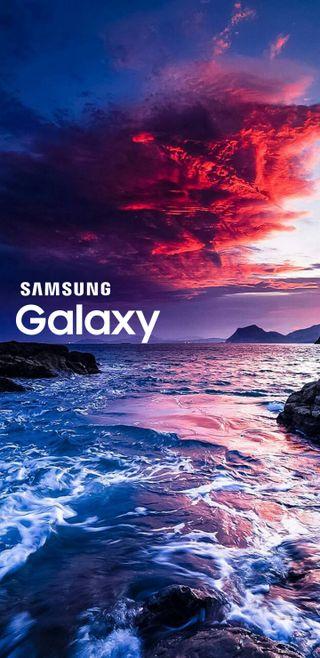 Обои на телефон j6, samsung, samsung galaxy, samsunggalaxy, samsunggalaxyj6, sea waves galaxy, галактика, самсунг, море, пляж, волны, ультра